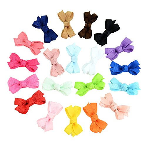 2 Inch Baby Girls Tiny Hair Bows Clips Fully Lined Snap Hair Pins Accessories (20PCS,Bownot) ()