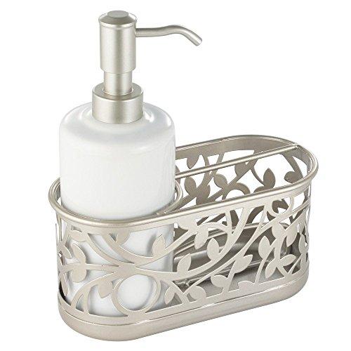 (InterDesign Vine Soap Dispenser Pump and Sponge Caddy - Kitchen Sink Organizer, White/Satin)