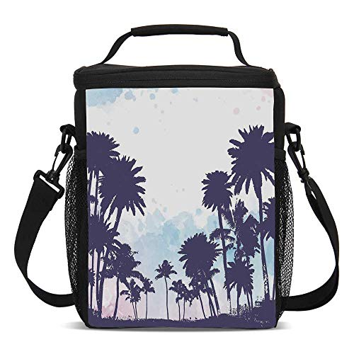 Apartment Decor Beautiful Children's Printed Lunch Bag,Miami South American Plant Forest Tropic Natural Palm Trees Art Print For picnic,One size