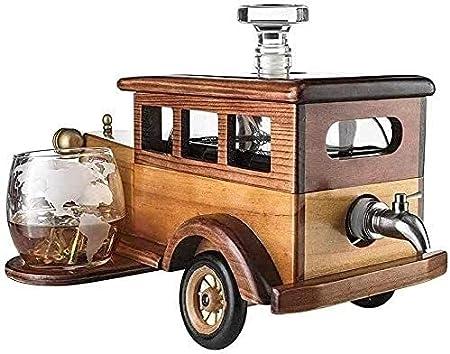 Conjuntos de accesorios de vino reutilizables Durable Whisky Decanter Conjunto de regalo 1000ml con 2 gafas de cristal de piedras de whisky y soporte de coche vintage antiguo antiguo para vodka, licor