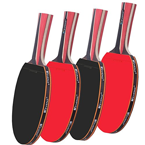 4-Pack KEVENZ 4-Star Pro Table Tennis Racket- 7 ply Wooden Blade Ping Pong Paddles