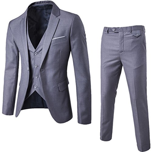 WULFUL Men's Suit Slim Fit One Button 3-Piece Suit Blazer Dress Business Wedding Party Jacket Vest & Pants Light Grey