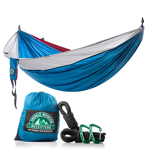 2 Person Camping Hammock by Emerald Mountain - Double Portable Hammock for Outdoor Use, Hiking, Backpacking, Travel, Sleeping, Survival Kit - Parachute Nylon, Snag-Proof Carabiners, 6 Gear Loops