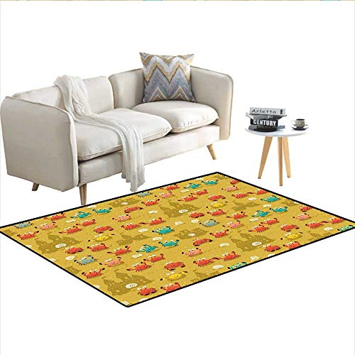 Carpet,Children Themed Cartoon Style Crabs and Shells and a Sand Castle on Beach Print,Customize Rug Pad,Pale Coffee 48