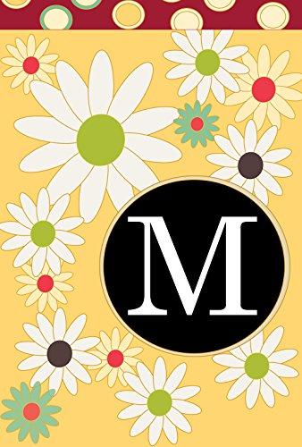Toland Home Garden Floral Monogram M 12.5 x 18 Inch Decorative Spring Summer Flower Initial Garden Flag ()