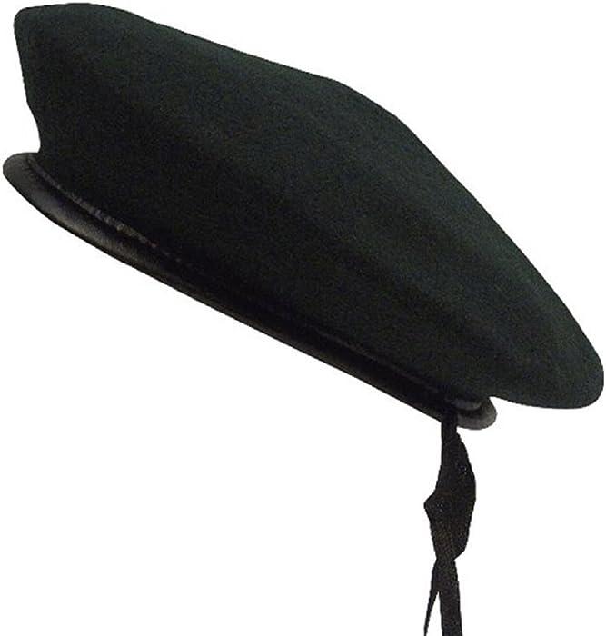 Amazon.com  Black Wool Blend Monty Military Beret LARGE  Clothing dac3a9643