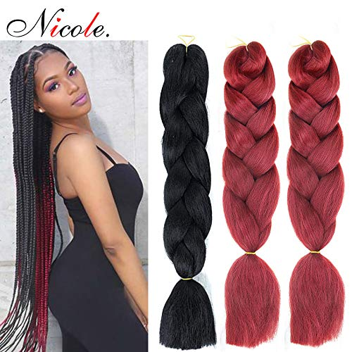NICOLE 100g/pack Afro Braids Crochet Hair Synthetic24 Inch Wine Red Color Soft Kanekalon Hair Extension (#99J)