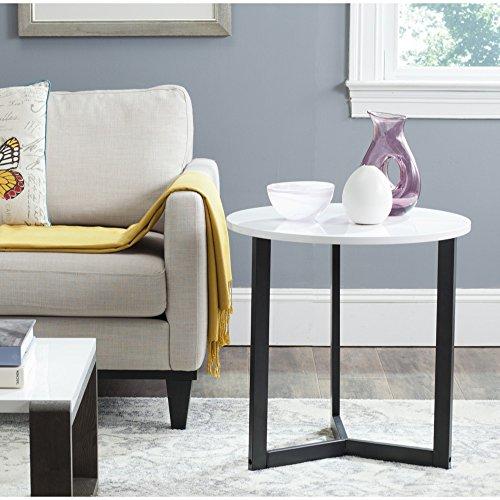 (Safavieh Home Collection Ballard White & Black End Table )