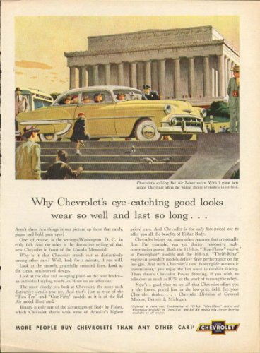 - Chevrolet Bel Air good looks Lincoln Memorial ad 1953 Town Journal