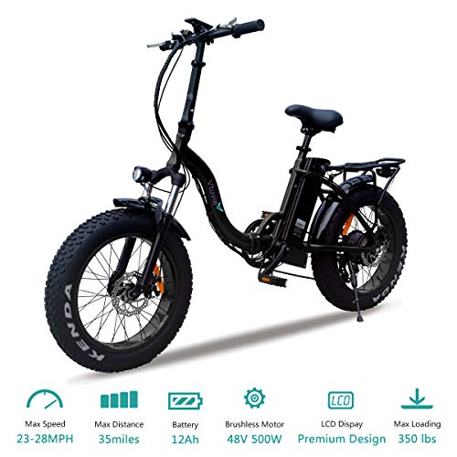VTUVIA Folding Electric Bicycle with 500W Motor and 48V 12AH Removable Lithium-Ion Battery 20 Inch Fat Tire Bike City Mountain E-Bike for Adults