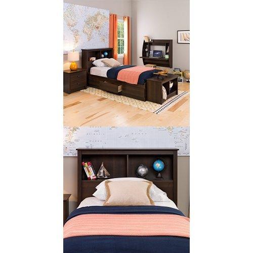 Prepac Mates Bed - Prepac  Fremont Twin Bed and Headboard - Espresso