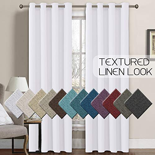 H.VERSAILTEX Linen Curtains Room Darkening Light Blocking Thermal Insulated Heavy Weight Textured Rich Linen Burlap Curtains for Bedroom/Living Room Curtain, 52 by 108 Inch - Pure White (1 Panel) (Inch Wide Curtains 108)