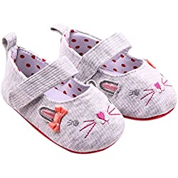 Voberry Baby Girls' Cute Cat Mary Jane Shoes Infant Sneakers (0~6 Month, Gray)