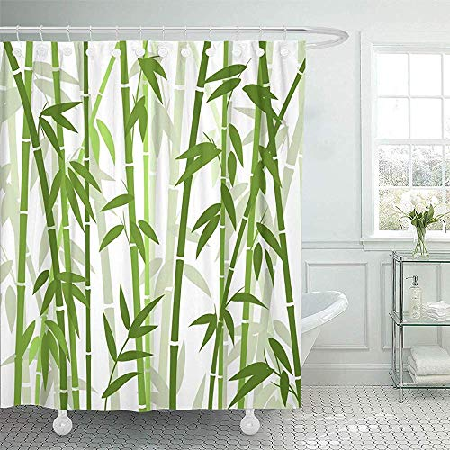 Sonernt Curtain Chinese or Japanese Bamboo Grass Oriental Wallpaper Vector Illustration Tropical Shower Curtain Bathroom Decor,Polyester Durable Waterproof - Curtain Wheat Bamboo