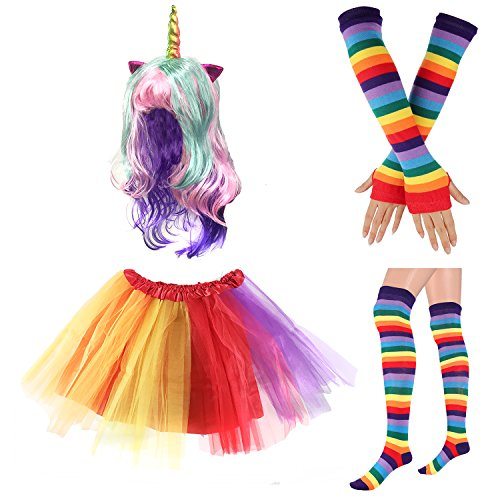 80s Womens Accessory,Tutu Skirt,Unicorn Headband, Unicorn Wigs Rainbow Long Gloves Socks,Rainbow Adjustable Suspenders w/Bow-tie (1-D)]()