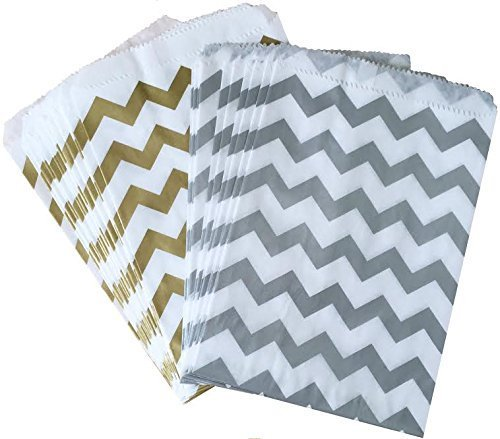 Outside the Box Papers Silver and Gold Chevron Treat Sacks 5.5 x 7.5 48 Pack Silver, Gold, White