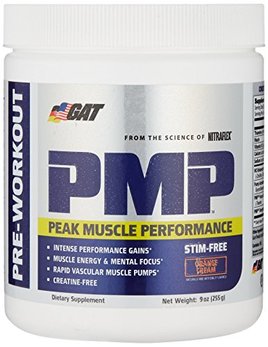 GAT PMP (Peak Muscle Performance), Next Generation Pre Workout Powder for Intense Performance Gains, Stimulant Free Orange Cream 30 Servings