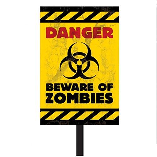 Zombie Schild Halloween Warnschild mit Stange, 58.4cm x 25.4cm Biohazard Warnzeichen Lebensgefahr Gefahrenzeichen Hinweisschild Halloweendeko Gefahrenschild Partydeko Halloweendekoration gruselig