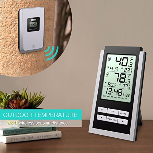 -[ Oria Wireless Weather Station, Indoor/ Outdoor Temperature Monitor, LCD Digital Thermometer with