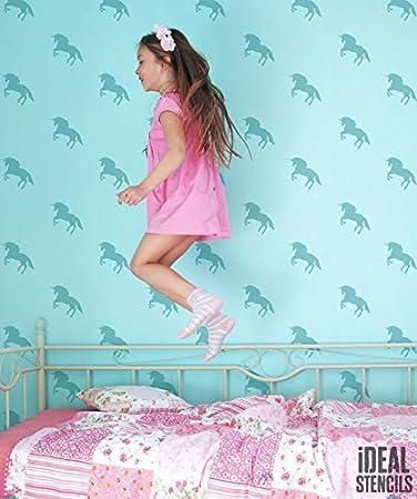 Einhorn Mädchen Schlafzimmer Schablone. Einhorn MUSTER Maßgeschneidert  Tapete Malerei. Wohndeko Schablone. Wandfarbe Stoff
