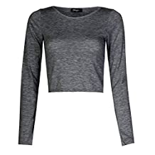 Forever Womens Stylish Plain Long Sleeves Viscose Jersey Crop Top