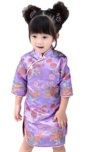AvaCostume Girls Traditional Chinese Qipao Dress Cheongsam Costume, PurpleFlower, 5-6 -