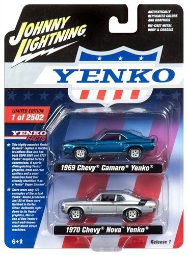 """1969 Camaro and 1970 Nova """"Yenko"""" Set of 2 Limited Edition to 2502 pieces Worldwide 1/64 Diecast Model Cars by Johnny Lightning JLPK002-YENKO from Johnny Lightning"""