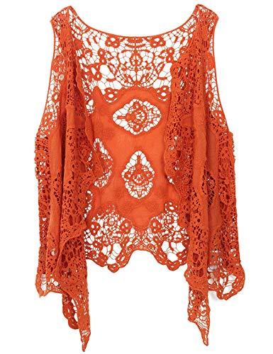 PUWEI Women's Open Front Crochet Bohemian Hippie Butterfly Vest Cardigan Coverup (Pumpkin Red, One Size)