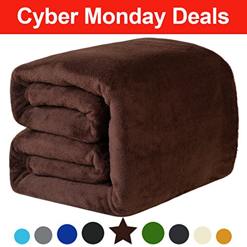 Fleece Throw Blanket 330 GSM Super Soft Warm Extra Silky Lightweight Bed Blanket, Couch Blanket, Travelling and Camping Blanket (Brown)