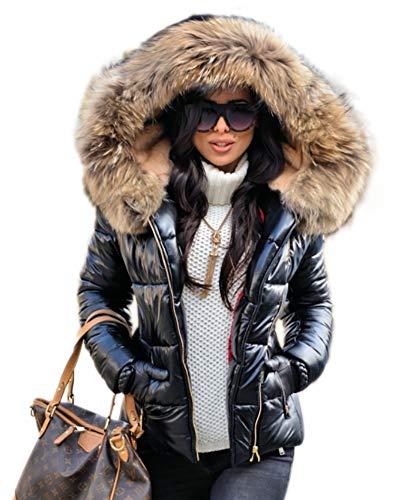 Aox Women Winter Fox Faux Fur Shiny Black Down Parka Hooded Slim Jacket Coat ()