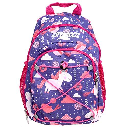 Cool Trek Water Bottle (ZippyRooz Toddler & Little Kids Extra SMALL Hiking Backpack for Girls in Pink & Purple Fun Design Featuring Unicorns Birds & Flowers (Pink Unicorns))