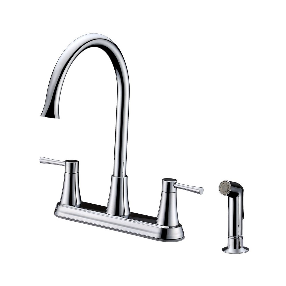 Polished Chrome Cadell 2070869CP Two Handle Kitchen Faucet with Side Spray