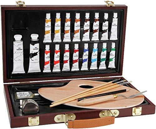- Darice 1103-082 Studio 71, 27 Piece Oil Painting Art Set, Wood Box