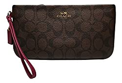 Coach Signature PVC Large Wristlet Clutch Brown Fuchsia 65748