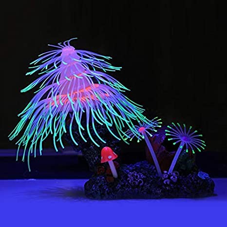 Uniclife Christmas Tree Fish Tank Decorations Glowing Effect Ornament Silicone Aquarium Decor
