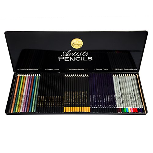 Art Pencils Set – Includes 60 Premium Art Pencils – Rich Pigmentation and Easy to Work With – Includes...