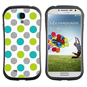 Suave TPU Caso Carcasa de Caucho Funda para Samsung Galaxy S4 I9500 / Green Blue White Fun Playful / STRONG