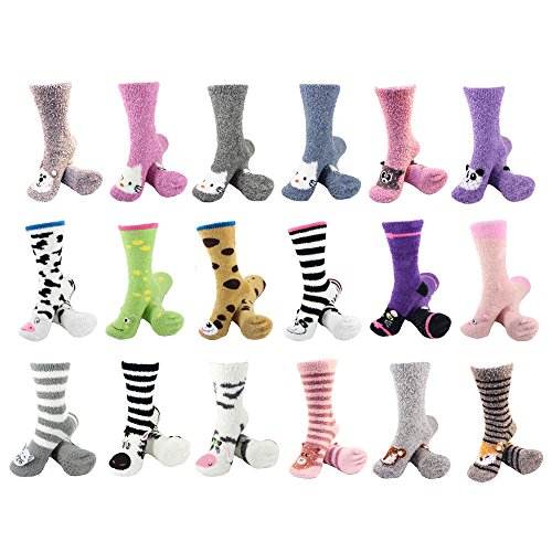 BambooMN-Socks-Super-Soft-Warm-Cute-Animal-Non-Slip-Fuzzy-Crew-Winter-Socks