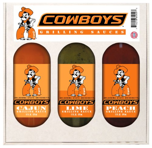 8 Pack OKLAHOMA STATE Cowboys Grilling Gift Set 3-12 oz by Hot Sauce Harry's