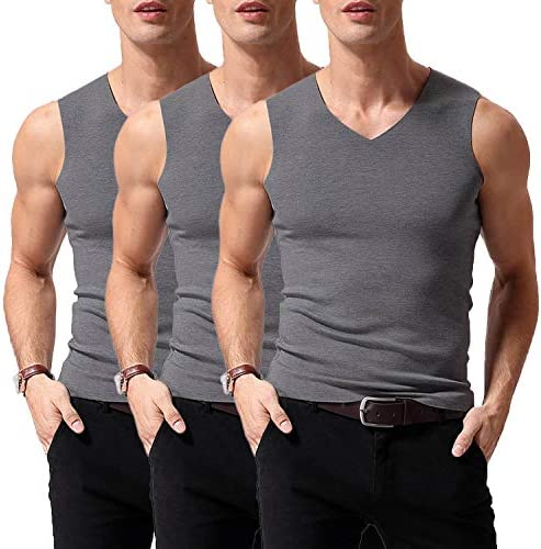Warmfort Mens Seamless V-Neck Thermal Tank Top Elastic Undershirts with Fleece Lined