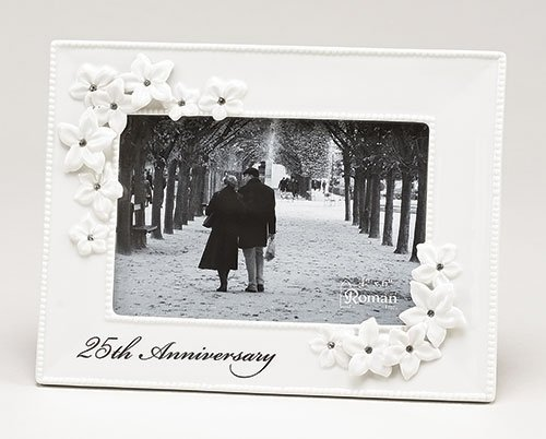 25th Anniversary White Porcelain Jeweled Decorative Flowers 4x6 Picture ()