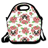 Nopofjiobr Tuxedo Cat and Roses Lunch Bag Reusable Thermal Thick Lunch Tote Bags for Lunch Boxes for Outdoors,Work, Office, School.