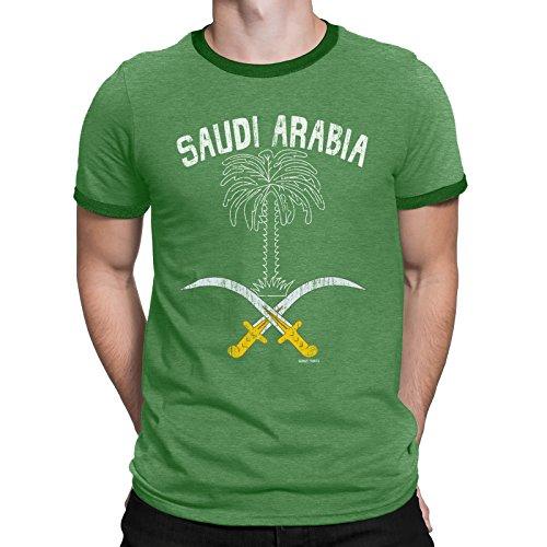 Buzz Shirts Mens T-Shirt Saudi Arabia Tree Swords World Cup 2018 Football Patriotic Retro