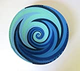 African Zulu woven telephone wire bowl – Large shallow bowl - Blue - Gift from Africa