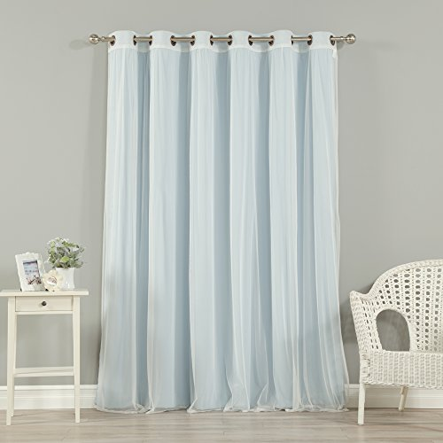 Best Home Fashion Mix & Match Wide Width Tulle Lace & Solid Blackout 2 Piece Curtain Set – Antique Bronze Grommet Top – Sky Blue – 80″W x 84″L – (Set of 2 Panels)