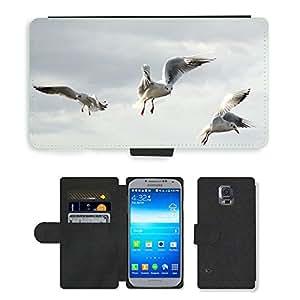 PU LEATHER case coque housse smartphone Flip bag Cover protection // M00117161 Gaviotas pájaro mosca Libertad Sky Lake // Samsung Galaxy S5 S V SV i9600 (Not Fits S5 ACTIVE)
