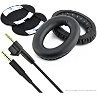 Replacement Earpad Ear Pad Cushions and Replacement Audio Cable (With Mic and Volumn Control) for Bose Bose AE2, AE2i, AE2w Headphone (Cable + Earpad)