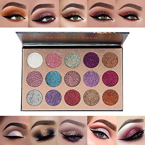 15 Colors Glitter Eyeshadow Palette Shimmer Ultra Pigmented Makeup Eye Shadow Powder Long Lasting Waterproof Halloween…