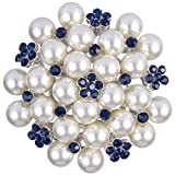EVER FAITH Women's Crystal Cream Simulated Pearl Elegant Flower Cluster Brooch Pin Blue Silver-Tone