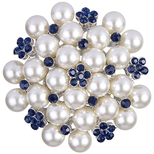 Crystal Cluster Pin (EVER FAITH Women's Crystal Cream Simulated Pearl Elegant Flower Cluster Brooch Pin Blue Silver-Tone)